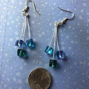 Blues trio earrings/ Blue dangly earrings